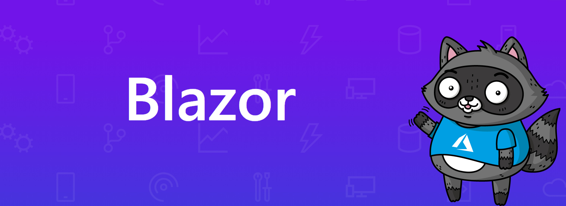 The Blazor logo, with a picture of Bit the Raccoon on the right.