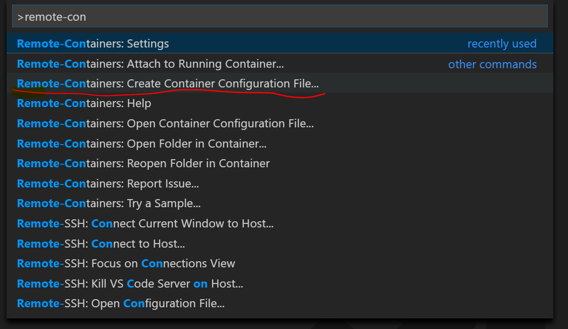 Creating aContainer Configuration File from the command palette: