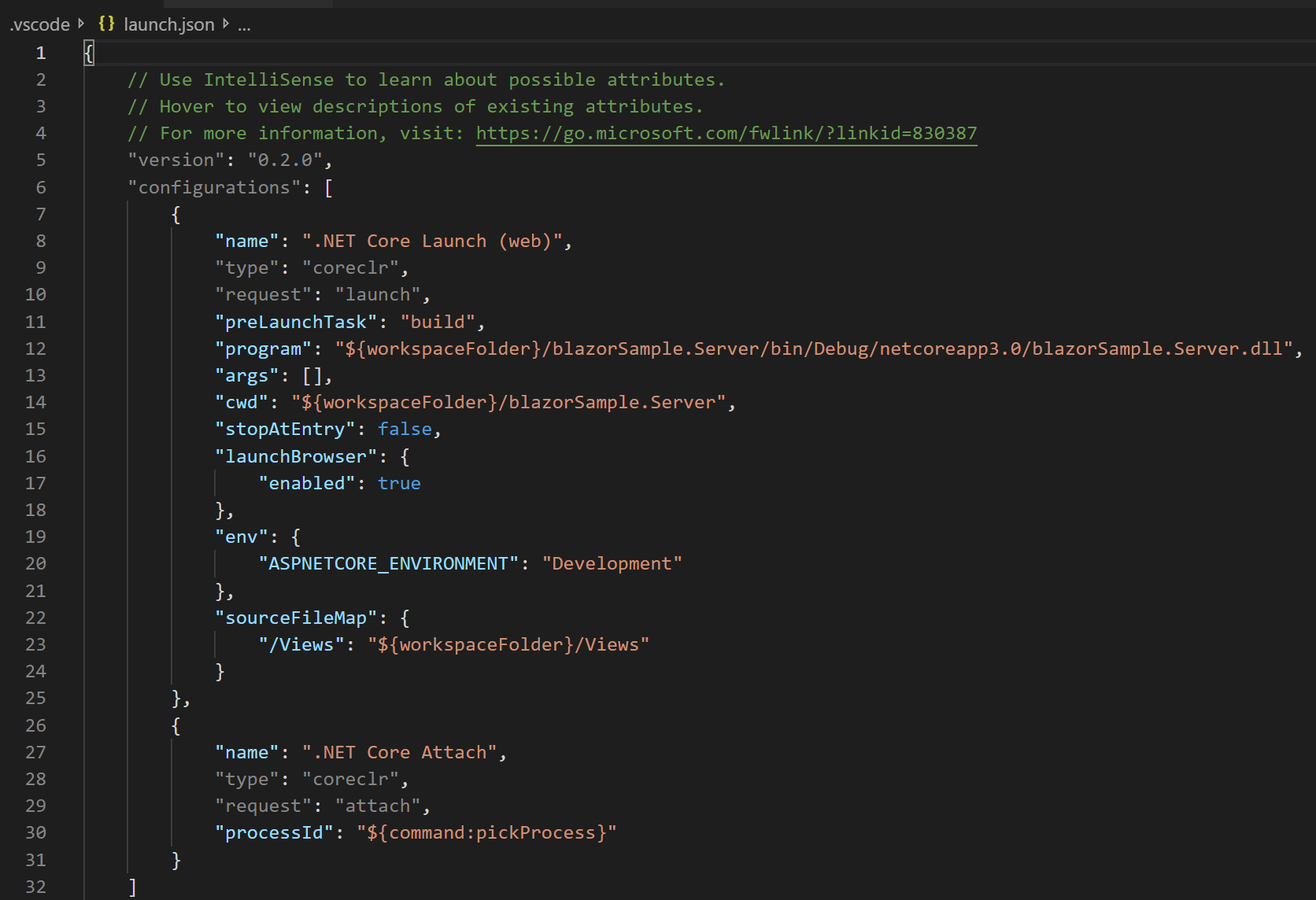 Pressing F5 to select the.NET Coretemplate and creating the properlaunch.jsonfile