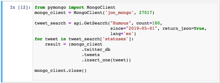 Adding 100 tweets containing the word 'Humous' into the database