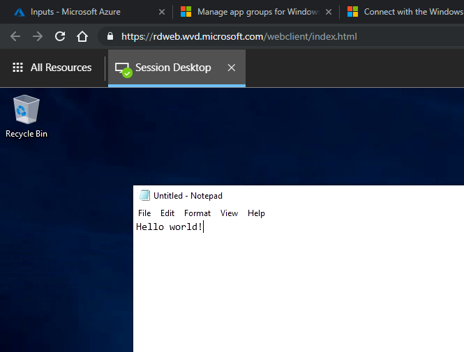 A Windows 10 desktop session running via the HTML5 client right in the browser
