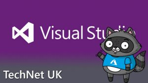 The Visual Studio logo with a picture of Bit the Raccoon on the right.