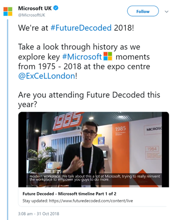 Tweet for Microsoft Future Decoded, featuring video with subtitles