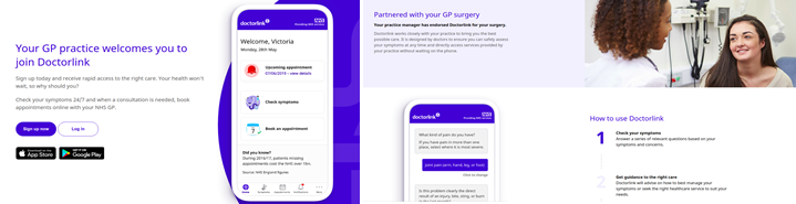 Image showing download of Doctorlink app and partnered with GP surgery