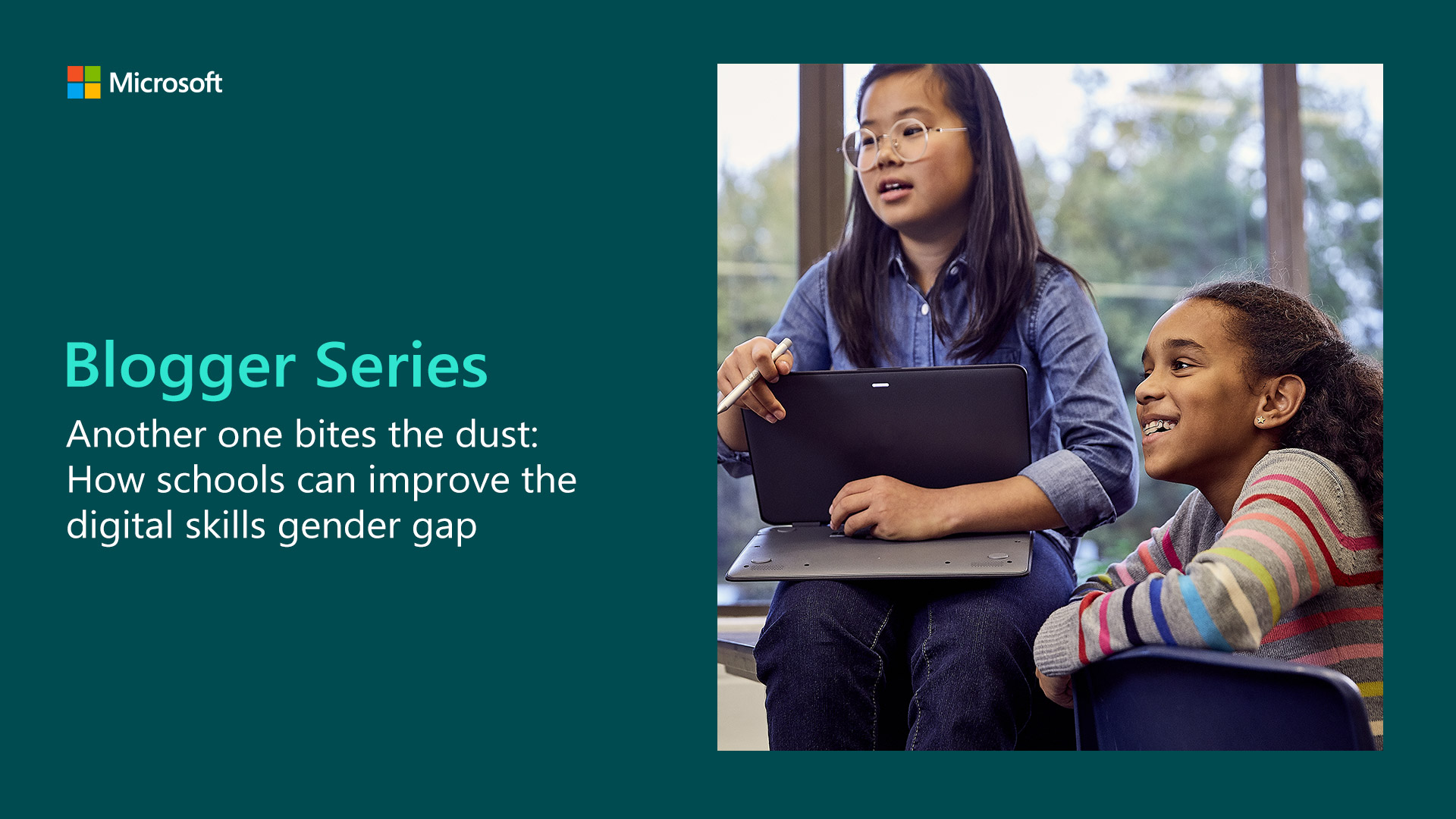 Microsoft Blogger Series banner showing two young girls using technology
