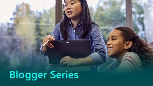 Microsoft Blogger Series Thumbnail showing two young girls using technology