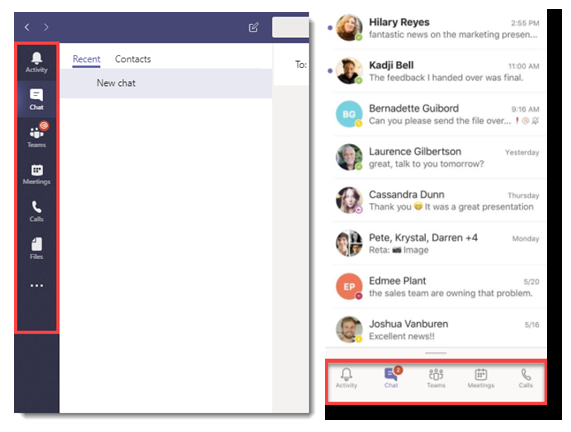 Microsoft Teams showing different user interfaces in a healthcare setting