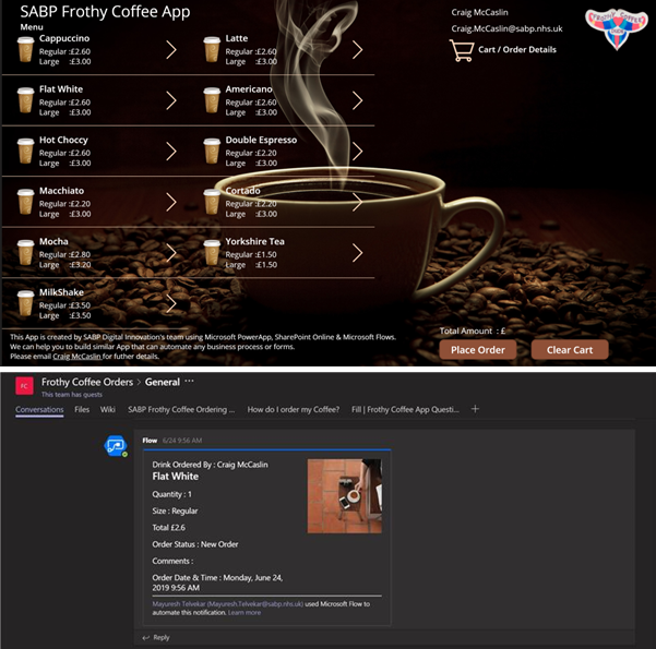 One NHS Trust used Microsoft products to create a coffee-ordering app