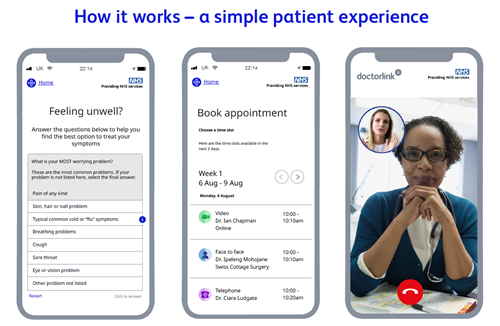 Image of Doctorlink smartphone app showing patient experience