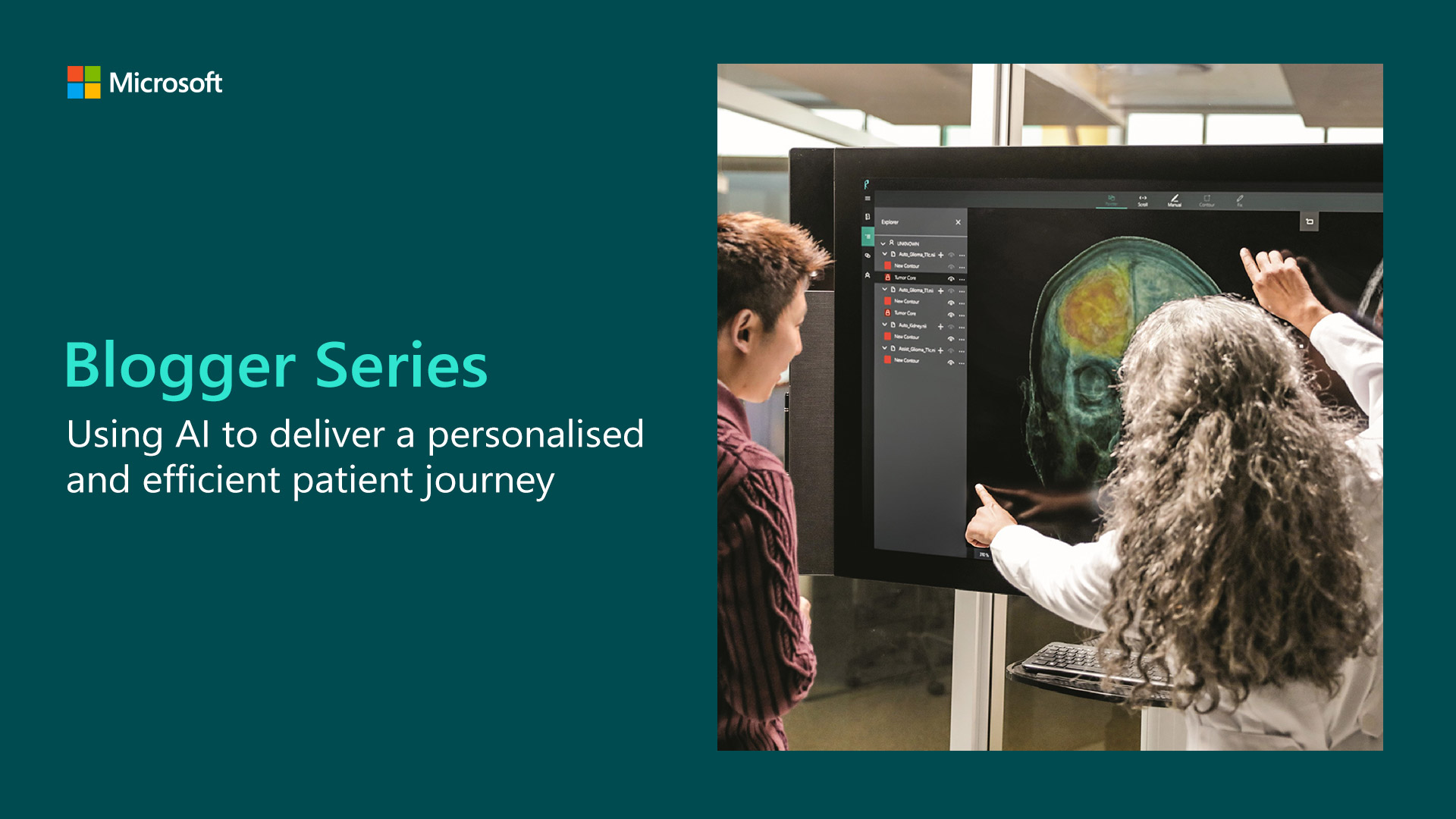 Blogger Series banner showing AI being used in the healthcare setting