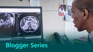 Blogger Series thumbnail showing AI being used in healthcare