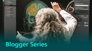 Blogger Series thumbnail showing healthcare practitioner working with AI