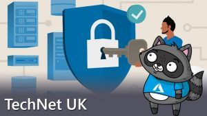 An image illustrating Azure Security Center, next to a picture of Bit the Raccoon.