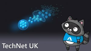 A graphic representing how the cloud works, with an image of Bit the Raccoon on the right of it.