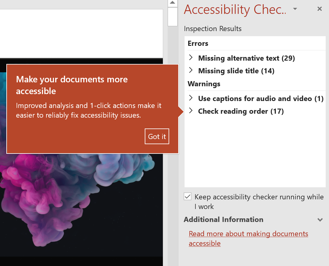 Screenshot of Accessibility Checker to increase diversity and inclusivity of all content