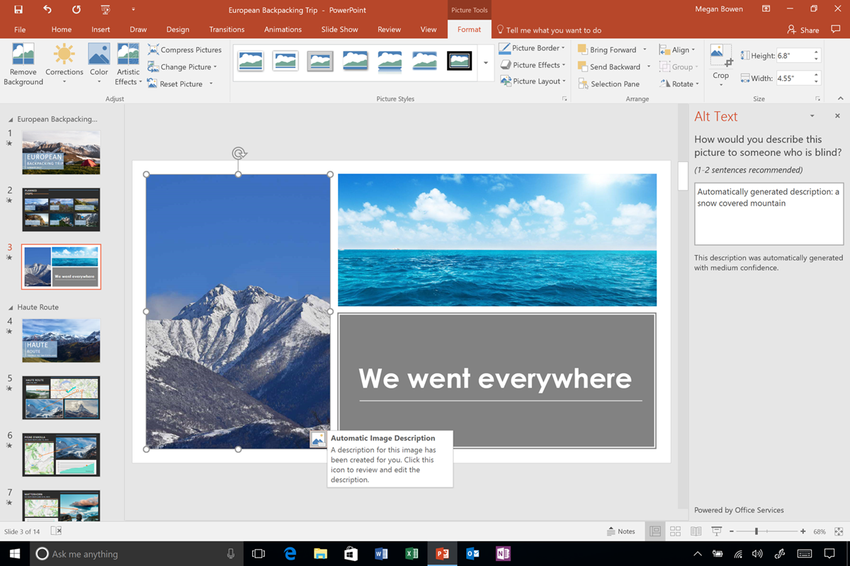 Screenshot showing automatic alt-text added to a PowerPoint image