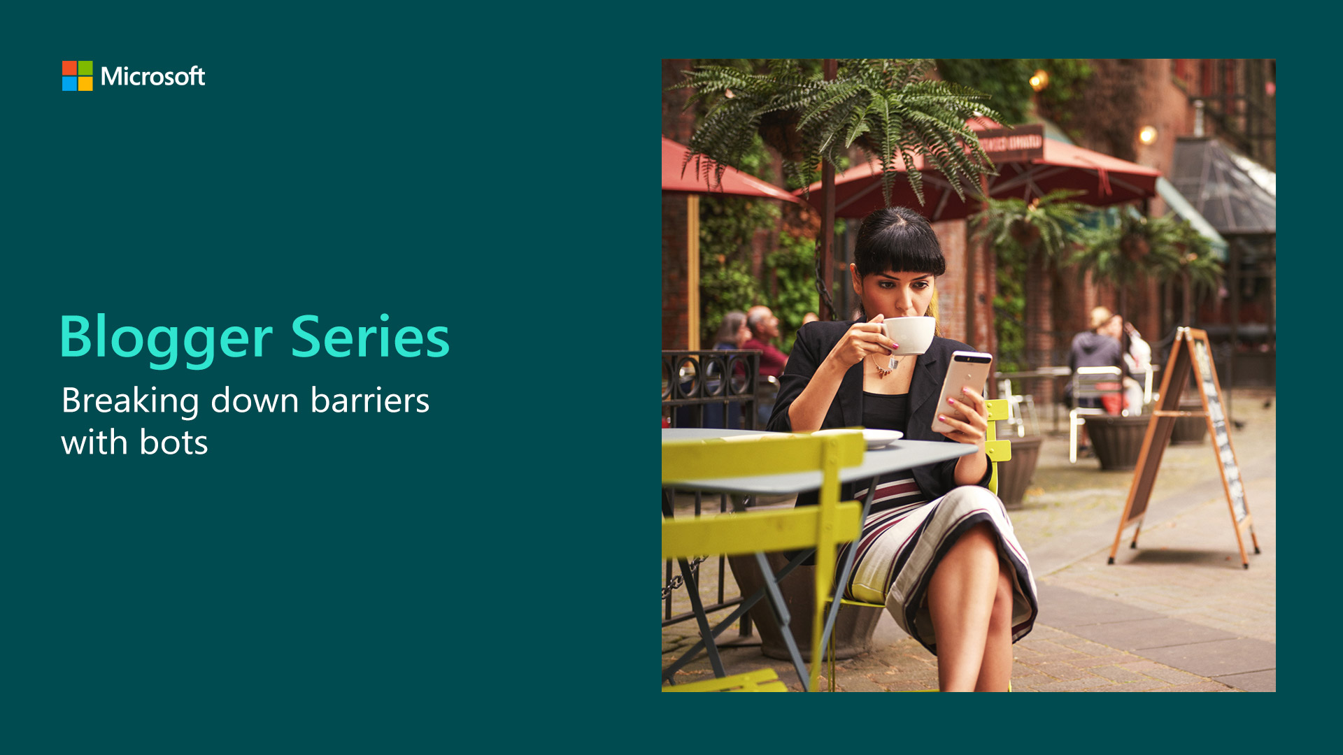 Microsoft Blogger Series banner showing woman on her phone whilst drinking coffee