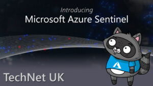 "An image that reads ""Introducing Microsoft Azure Sentinel"", with a drawing of Bit the Raccoon on the right."