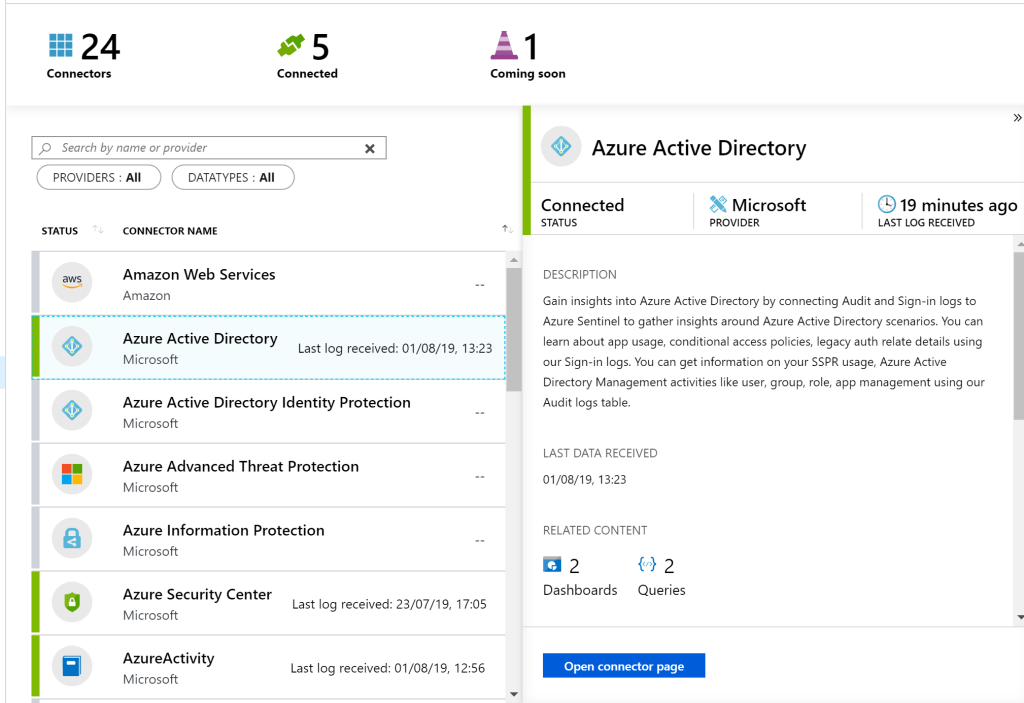 A screenshot showing Azure Active Directory being linked to Azure Sentinel.