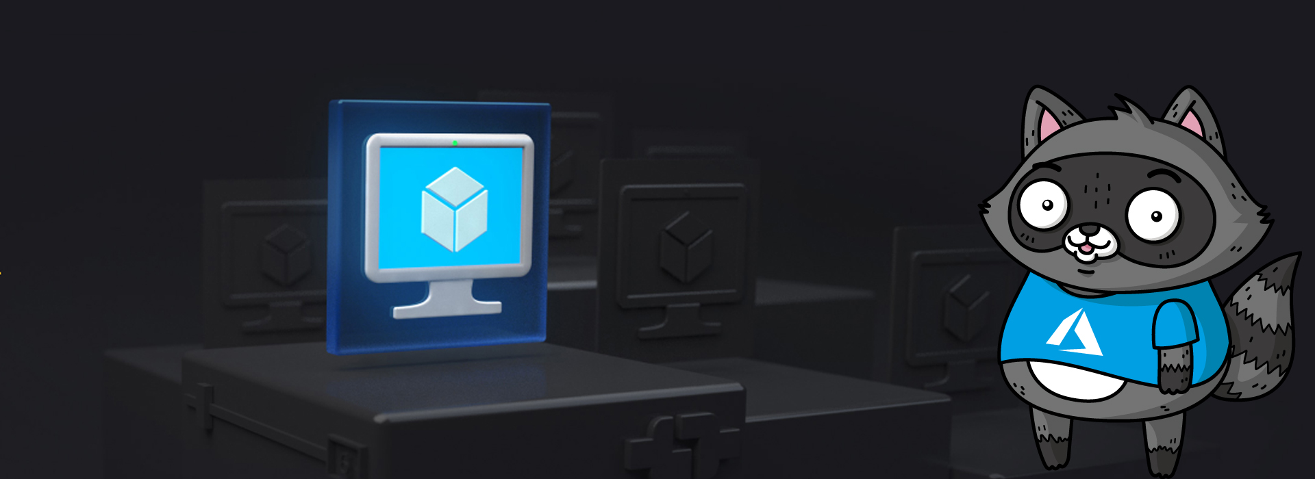 A 3D render of a computer screen displaying an object representing virtual machines, with a picture of Bit the Raccoon on the right.