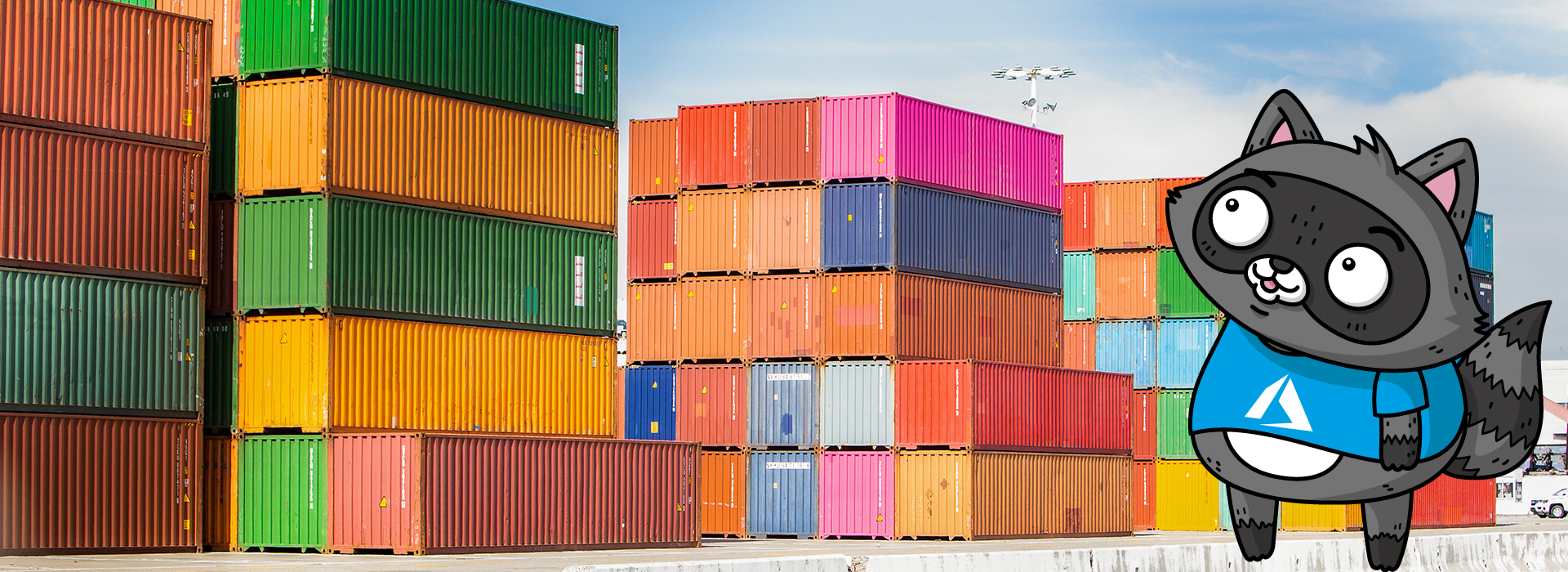 A photo of colourful shipping containers, next to a drawing of Bit the Raccoon.