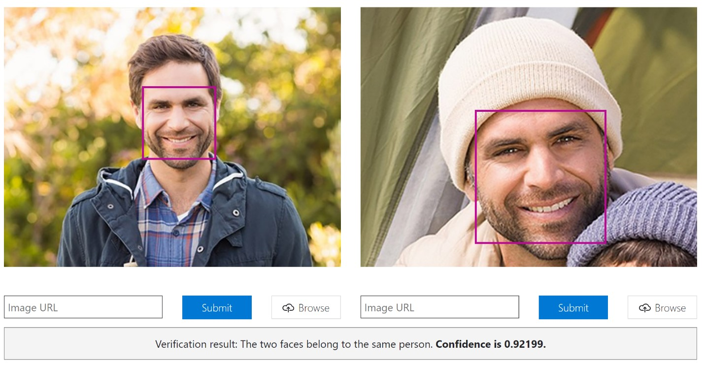 Machine learning comparing two photos of men with a confidence rating for determining whether they're the same person.