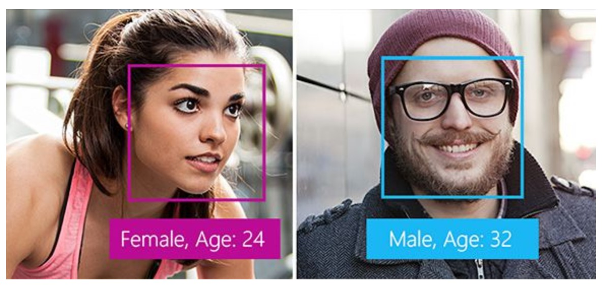 Facial recognition estimating the sex and age of two people in photos.