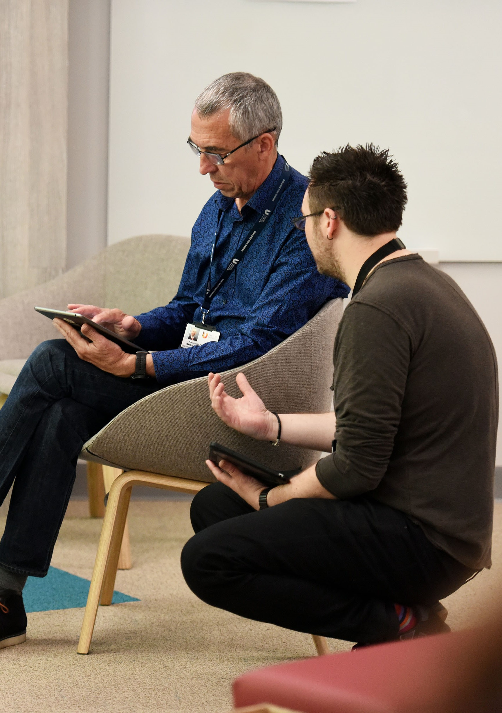 Richard training a team member on the future facing learning platform