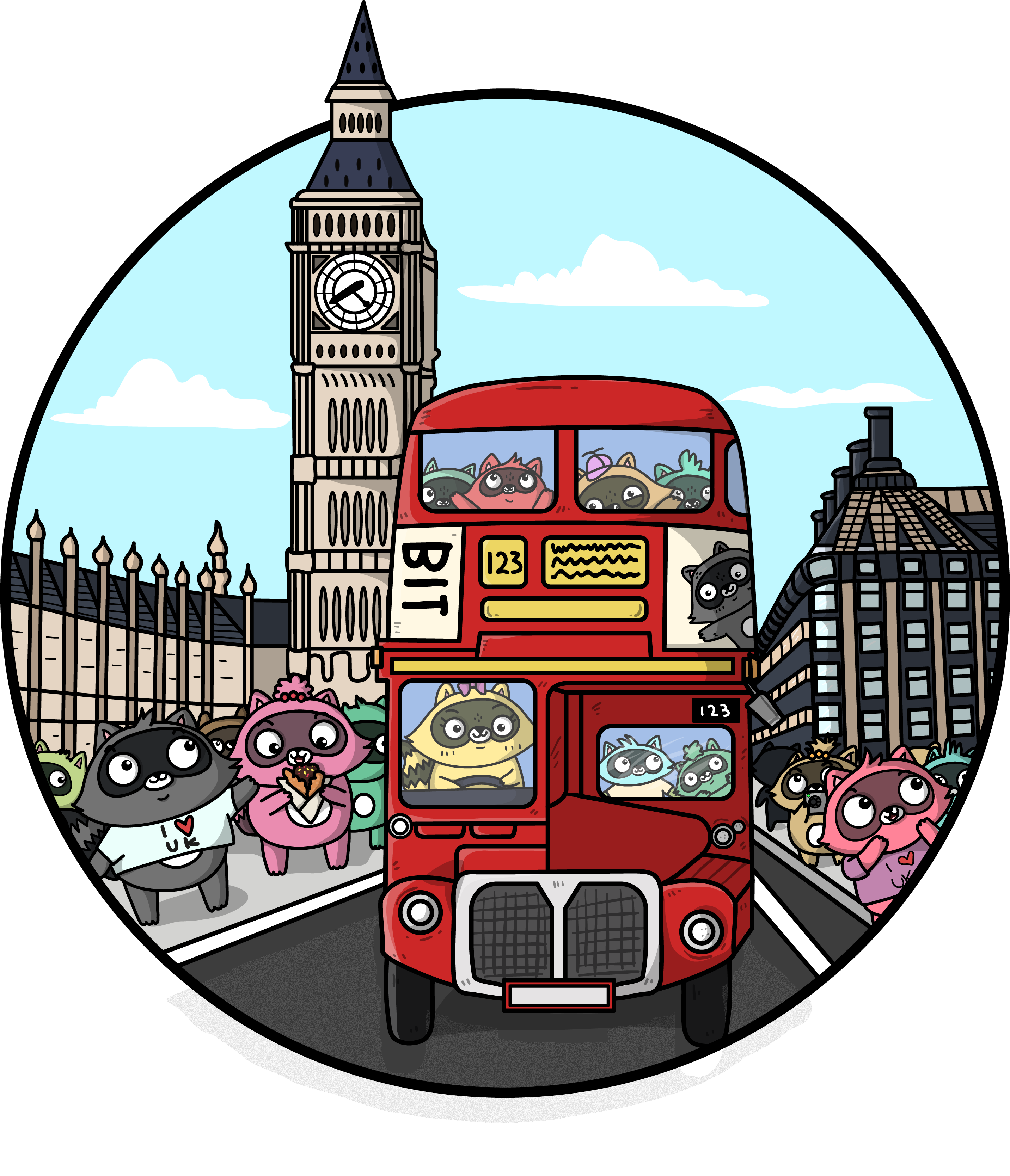 A drawing of Bit the Raccoon in London, featuring a red double decker bus and Big Ben.