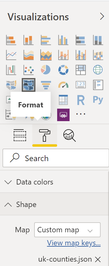 The Format tab in the Visualizations pan