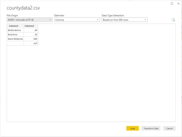 Click on Transform Data on the new window