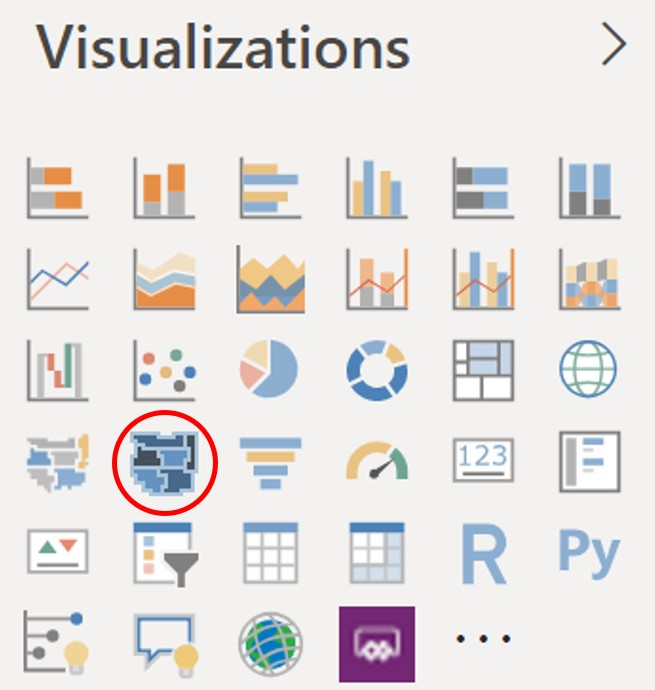 Select the Shape Map icon in the Visualizations pane
