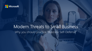 "Cover of the ""Modern threats to small business"" ebook by Microsoft"