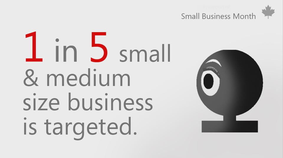Graphic with text that reads 1 in 5 small & medium size business is targeted.