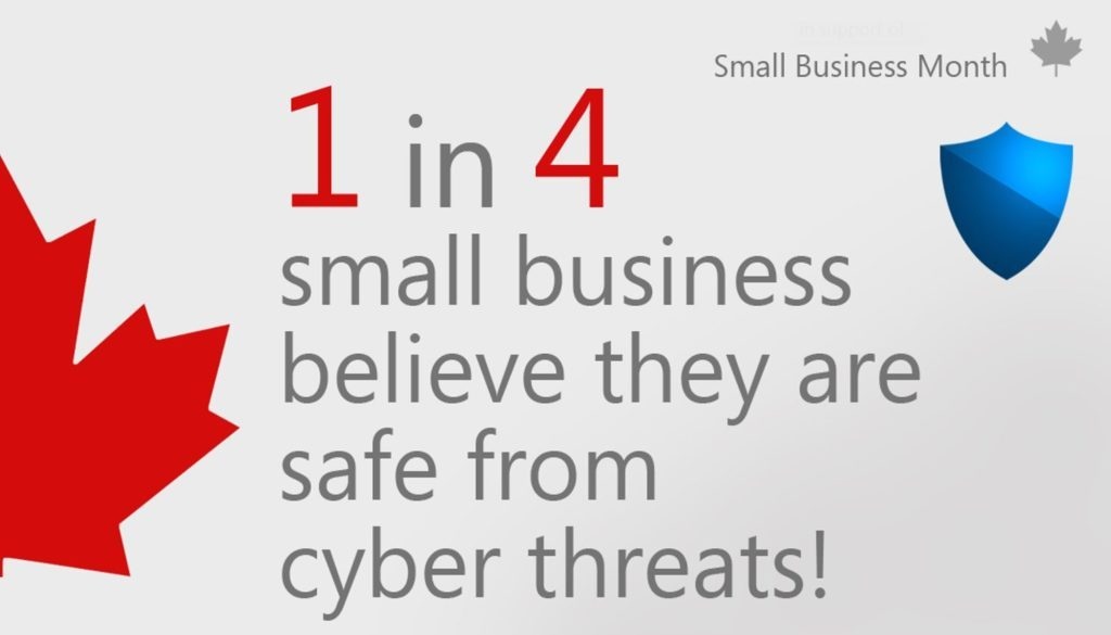 Graphic with text that reads 1 in 4 small business believe they are safe from cyber threats!