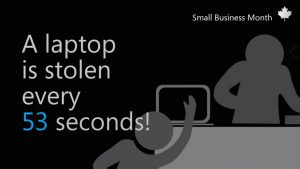 Doodle of a laptop getting stolen with the headline A laptop is stolen every 53 seconds!