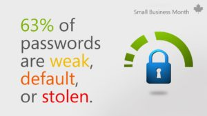 Lock graphic with text that reads 64% of passwords are weak, default, or stolen.