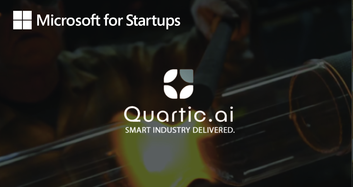 "A man welding an object as the background with name of company mentioned and ""Microsoft for Startups"""