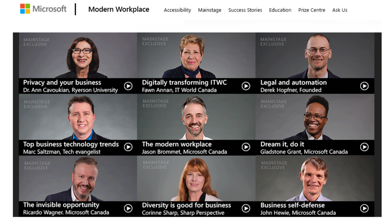 Screen grab of the Mainstage section of the Modern Workplace on Demand business channel, featuring its keynote speakers: Dr. Ann Cavoukian, Fawn Annan, Derek Hopfner, Marc Saltzman, Jason Brommet, Gladstone Grant, Ricardo Wagner, Corinne Sharp, and John Hewie.