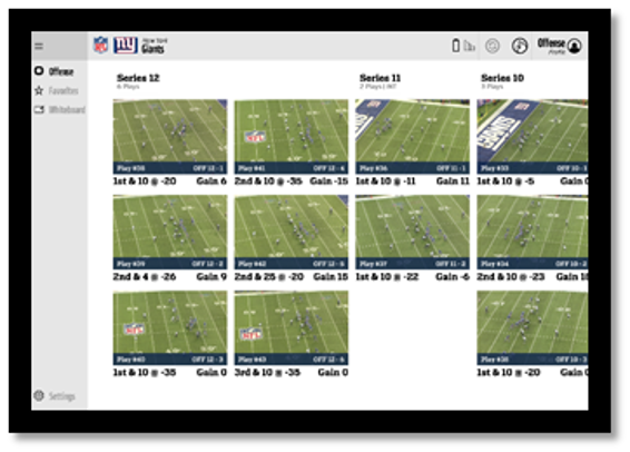 Surface screen showcasing NFL plays