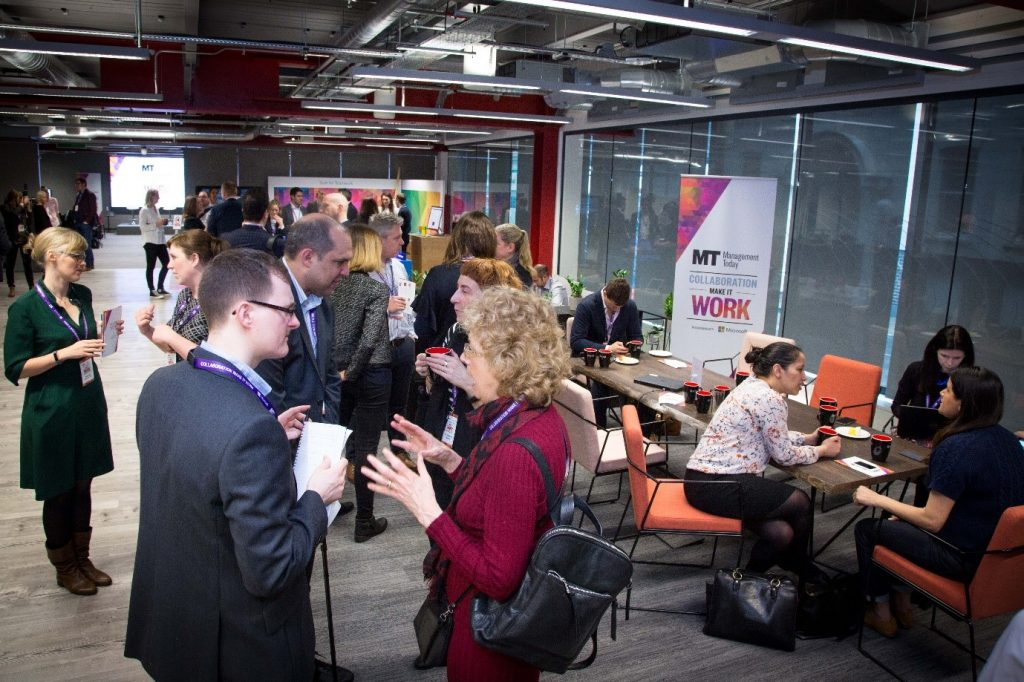 People networking at event