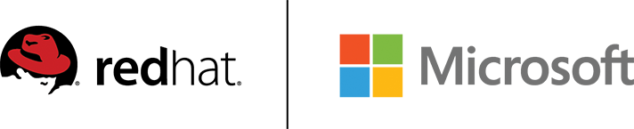 Red Hat and Microsoft logos