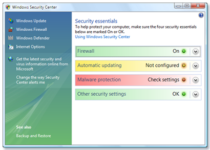 Check security settings in Windows Vista - Microsoft Security