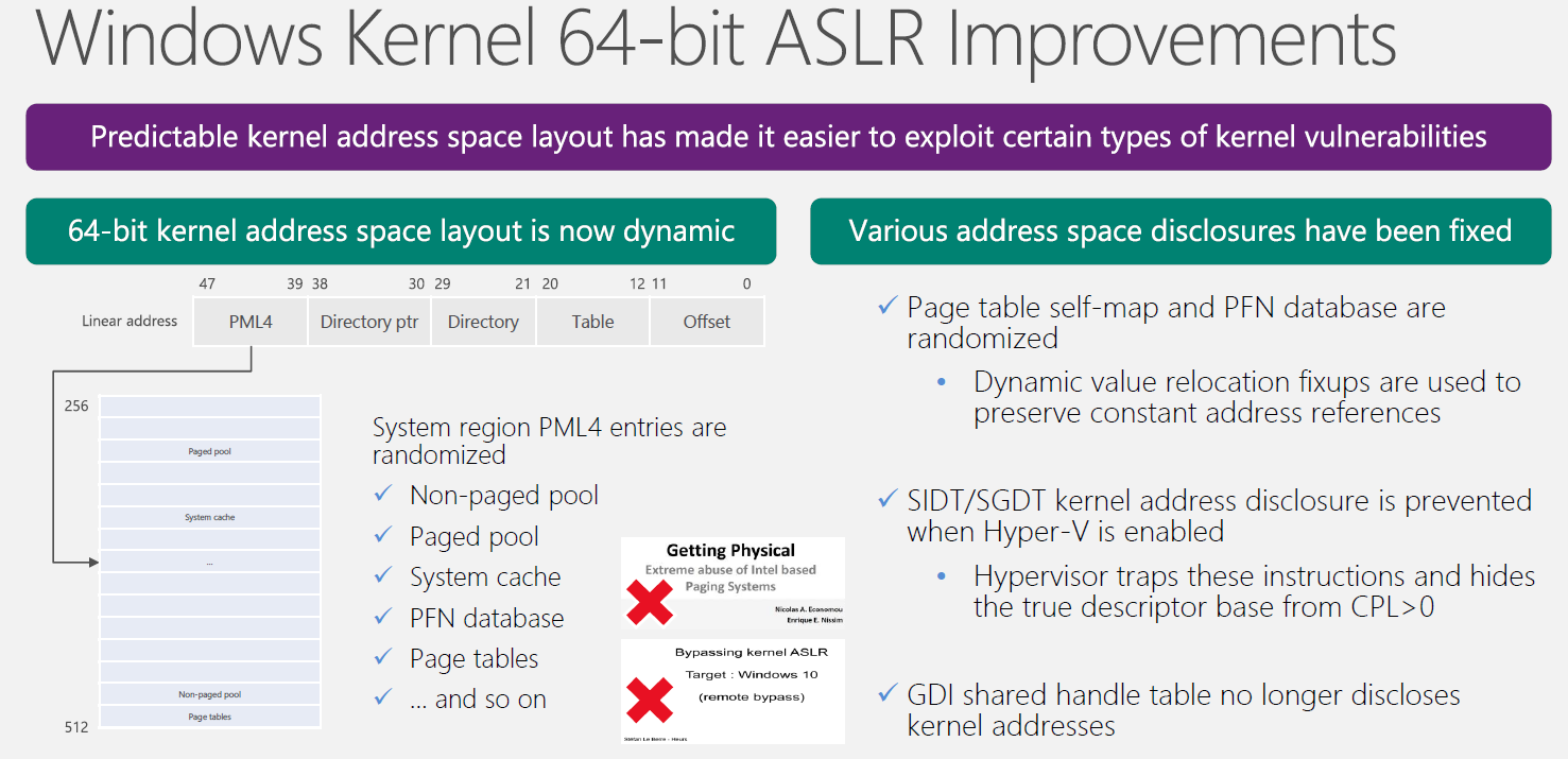 Windows Kernel 64-bit ASLR improvements