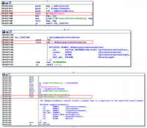 Figure 24: API calls to retrieve handle file name in mshta.exe process