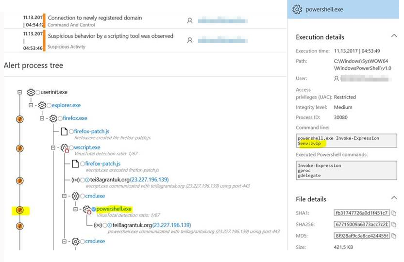 Windows Defender ATP machine learning alert for the execution of the Kovter script-based payload