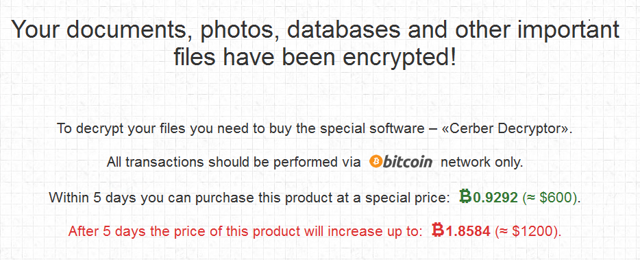 Note showing that Cerber is request bitcoin payment to decrypt files
