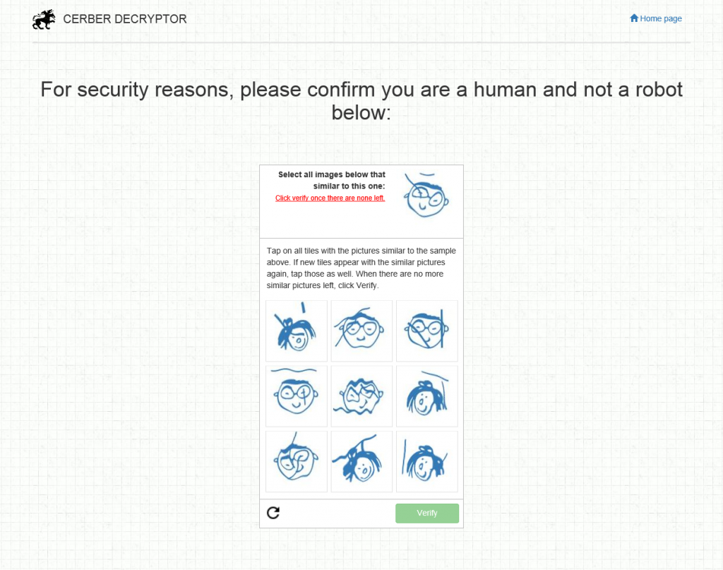 Anti-robot CAPTCHA on the ransomware website