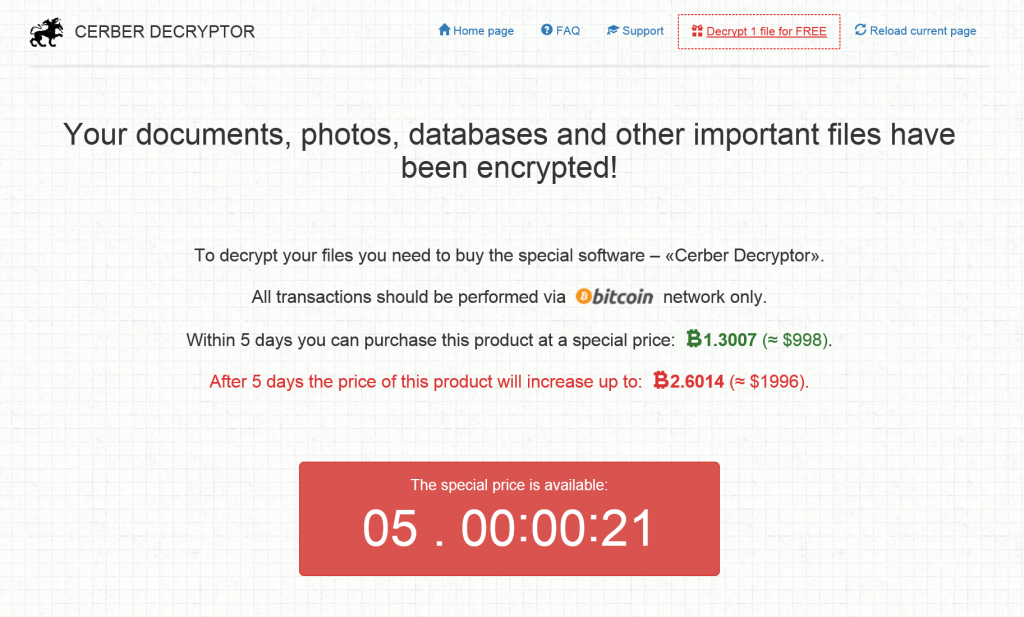 Special rate countdown on the ransomware website