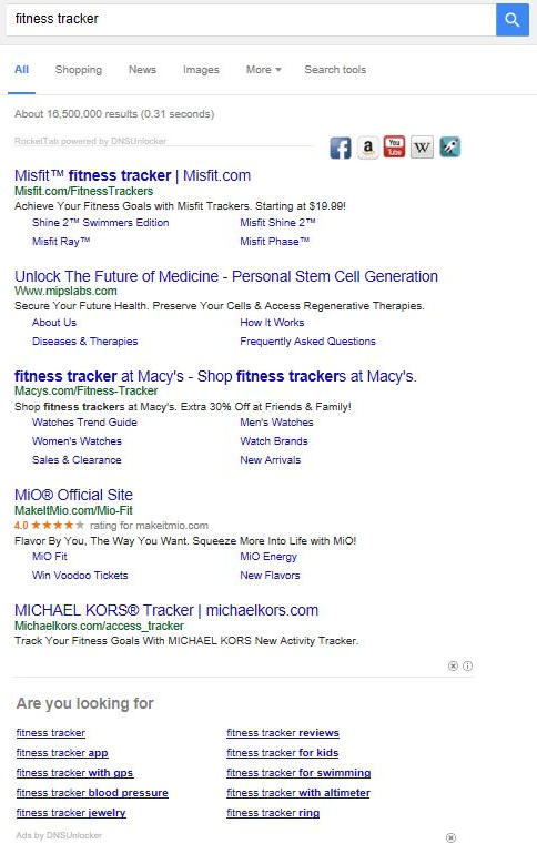 "Screenshot of advertisements injected by Clodaconas to search results for ""fitness tracker"""